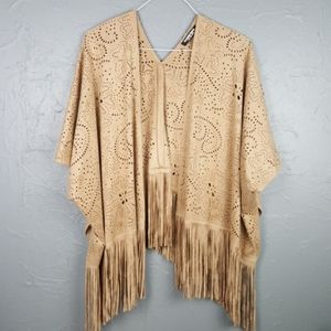 NWOT FASHION UNION Tan Fringe Cutout Ruana S M
